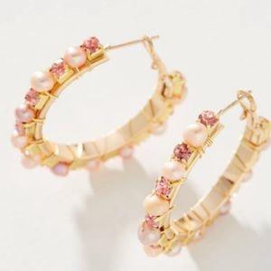 Pink Pearl Crystal Embellished Hoop Earrings